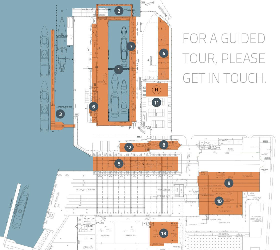 Site map of ICON Yacht's facilities.