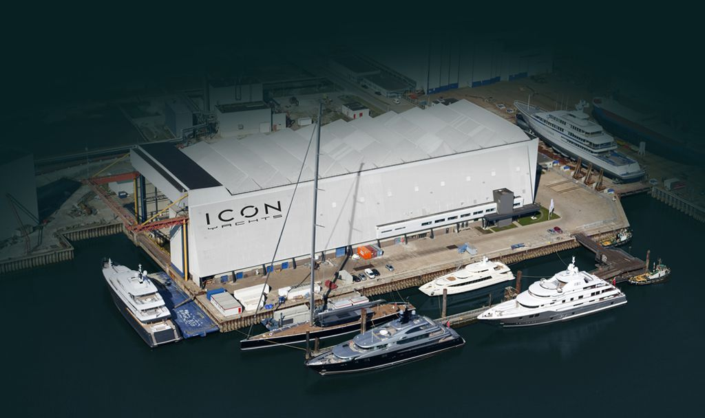 Aerial of ICON Yachts shipyard with M/Y ICON, M/Y Slipstream, M/Y Baton Rouge and M/Y Basmalina II moored in the 300m of secure berthing.