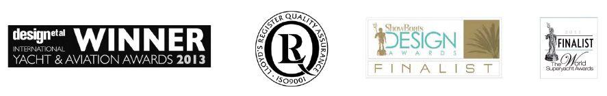 Awards, memberships and certificate logos.