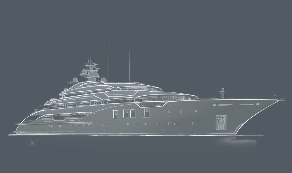 Luxury Super Yacht - Icon 75 Horizontal view.