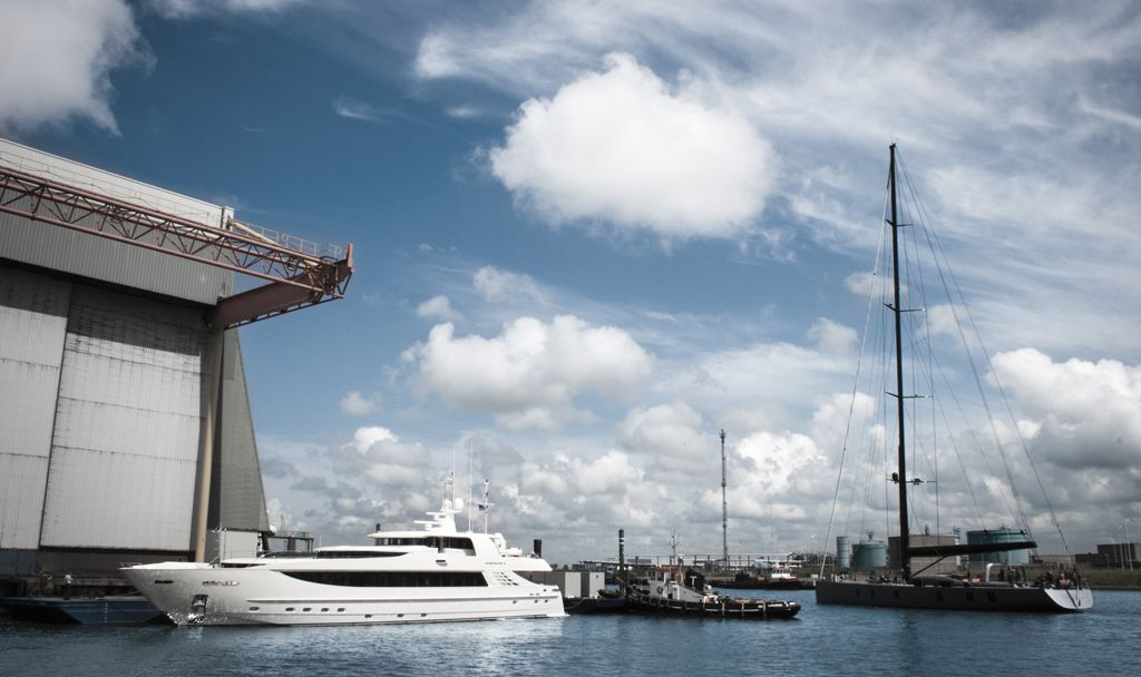 Exterior view of ICON Yachts showing M/Y Basmalina II moored in the 300m of secure berthing.