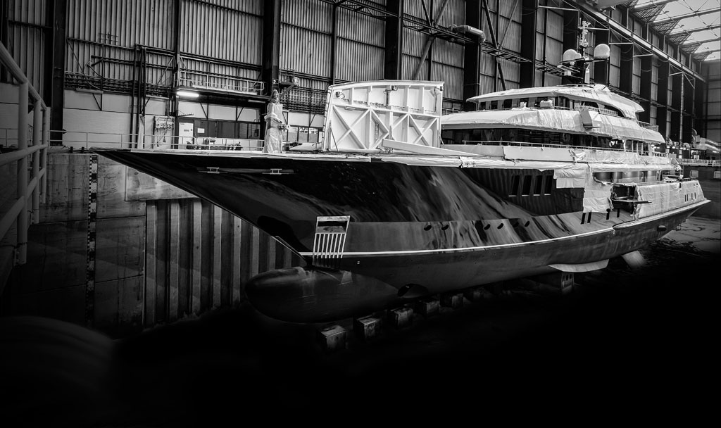 Superyacht M/Y Icon in for refit at the shipyard.