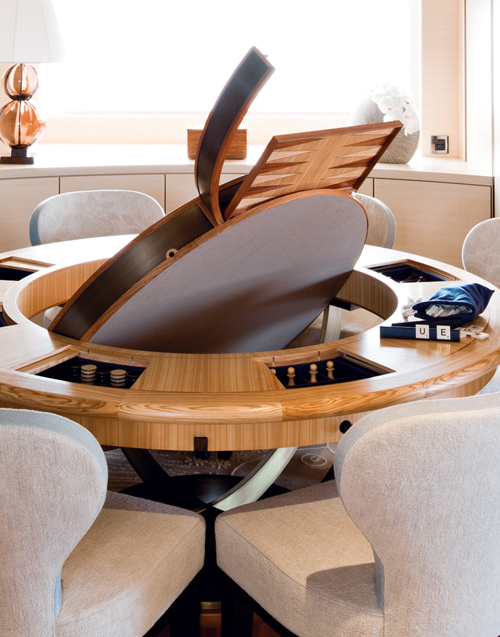 Main deck lounge card and games table by Silverlining cabinet makers.