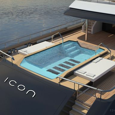 Aerial view of the infinity pool on the superyacht, Icon.