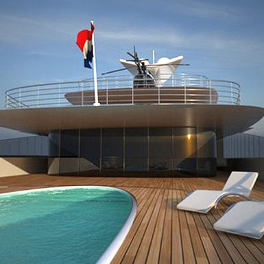Swimming pool on superyacht aft deck with helicopter on the upper deck.