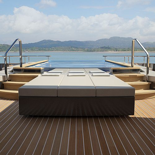 View looking aft of the infinity pool on M/Y Icon.