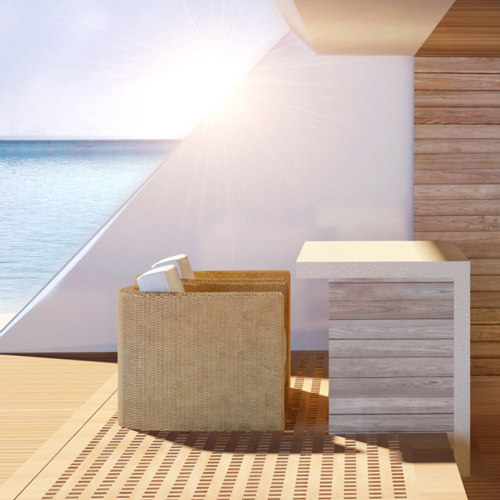 Sun loungers, breakfast bar and interior seating of superyacht beach club.
