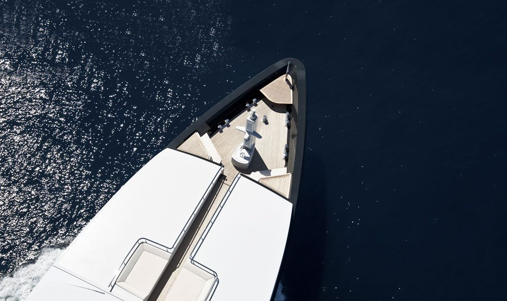 Overhead bow shot of M/Y Icon.