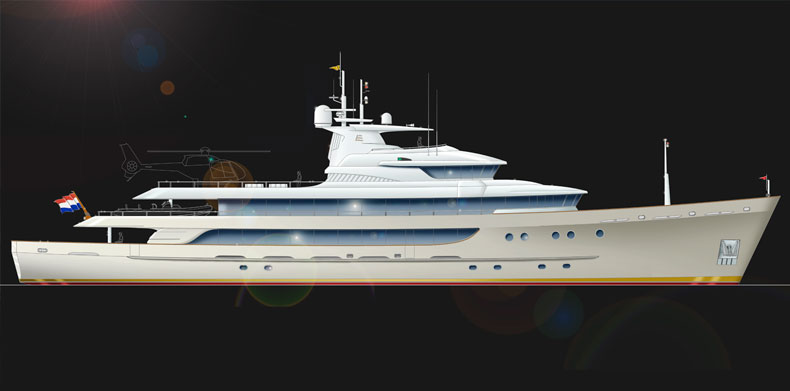 Running shot of Icon 197 Ft Luxury Super Yacht - ER Yacht Design.