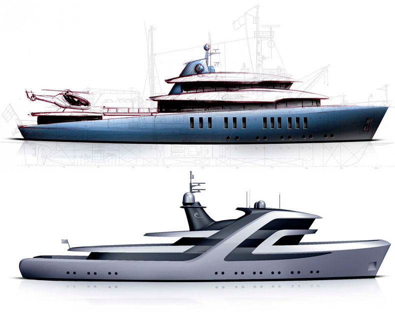 Angular shotof Icon 197 Ft - H2 Yacht Design.