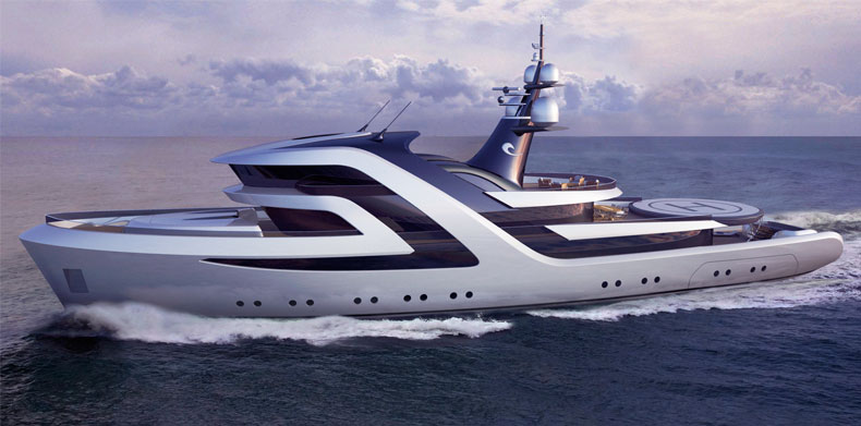 Overhead shot of luxury super yacht Icon 197 FT - H2 Yacht Design.