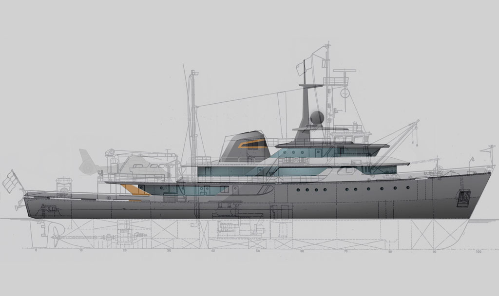 Model View of Icon 197 Ft , Luxury Super Yacht.