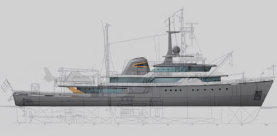 SIde view of a superyacht.