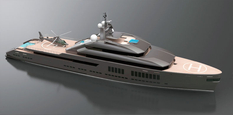 Model view 2 of Luxury Super Yacht- Icon Hotlab 240 Ft.