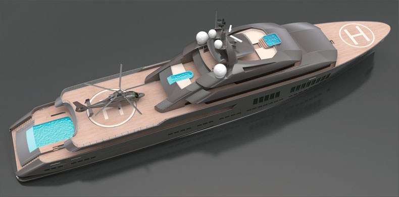 Aerial  shot of Icon Hotlab 240 Ft, Luxury Super Yacht.