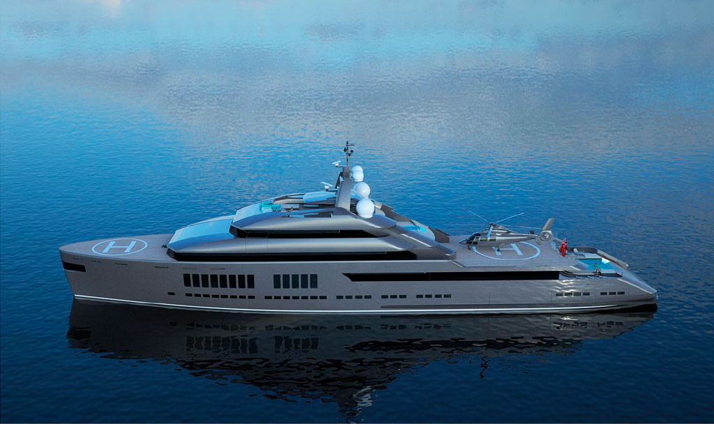 Running Aerial shot of Icon Hotlab 240 Ft, Luxury Super Yacht.