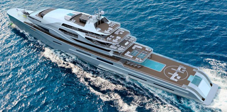 Aerial View Luxury Super Yacht - Icon IPI New york 404.