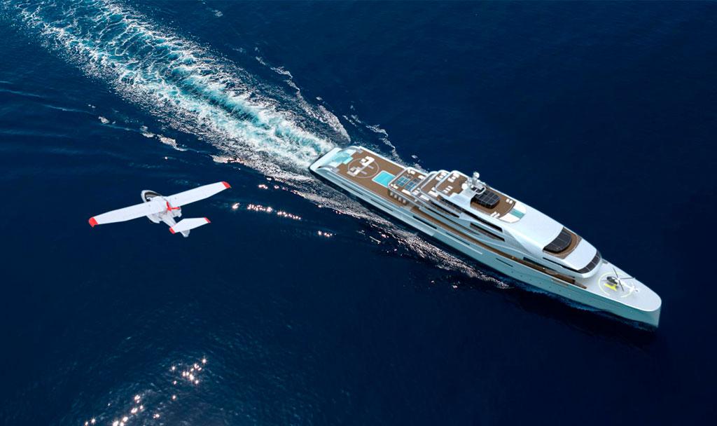 Closeup of Luxury Super Yacht - Icon IPI New york 400 .