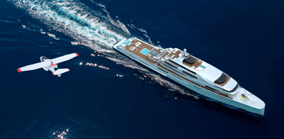Superyacht with helicopter on the bow.