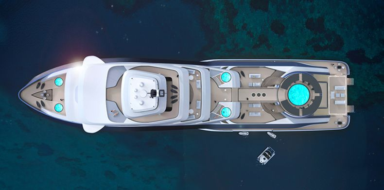 Overhead straight shot of Icon Motion Code Blue 310, Luxury Super Yacht.