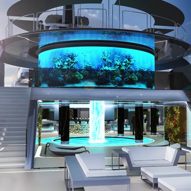 Beautifull Aquaruim on Luxury Super Yacht, Icon Motion Code Blue 310.