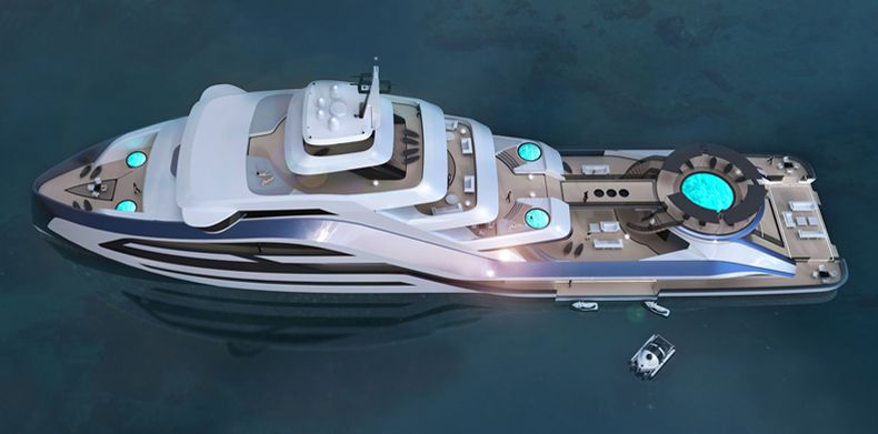 Overhead view of Icon Motion Code Blue 310, Luxury Super Yacht.