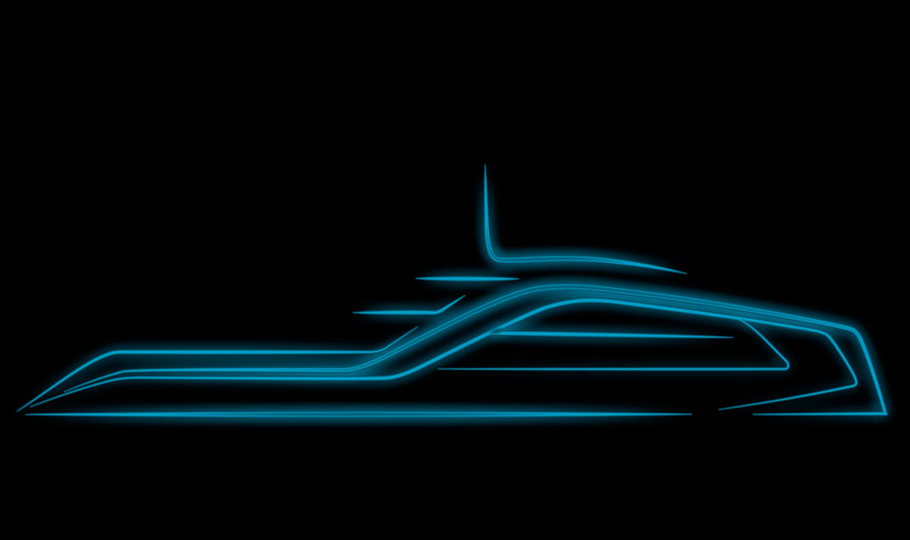 Overhead beautifull shot of Icon Motion Code Blue 310, Luxury Super Yacht.
