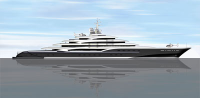 Side view of superyacht.