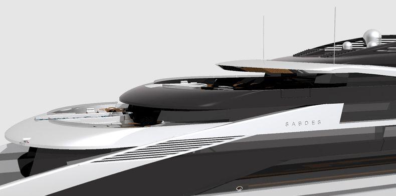 Side view of Icon Sabdes 475 - Luxury Super Yacht Design.