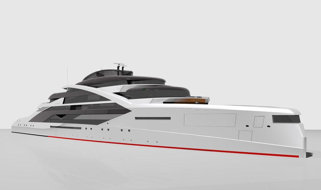 Closeup of Icon Sabdes 475 - Luxury Super Yacht Design.