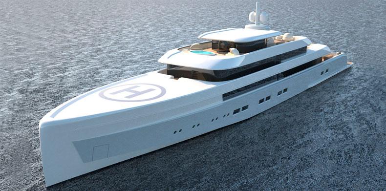 Overhead shot of Luxury Super Yacht Icon 235 Ft - Van Geest Design.