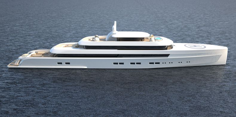 Aerial shot Icon 235 Ft - Van Geest Design, Luxury Super Yacht.