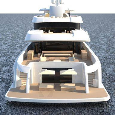 Back veiw of Icon 235 Ft - Van Geest Design, Luxury Super Yacht.