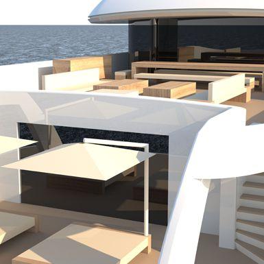 On Deck  shot of Luxury Super Yacht Icon 235 Ft - Van Geest Design.