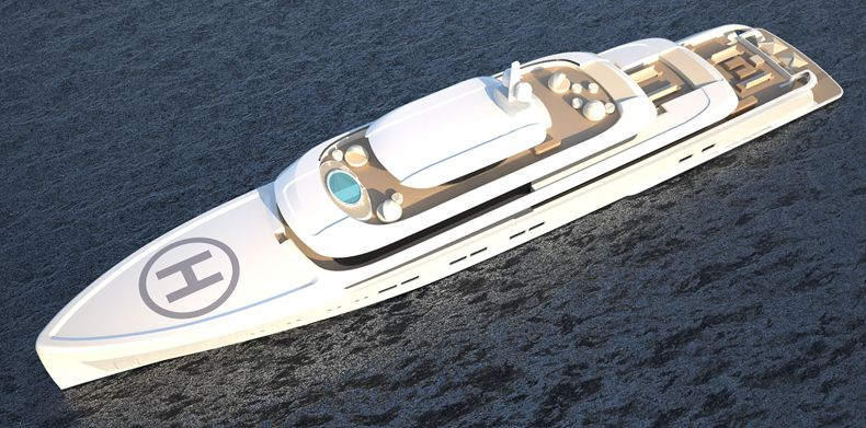 Overhead Running shot Icon 235 Ft - Van Geest Design, Luxury Super Yacht.