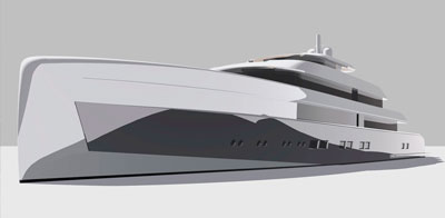 Helicopter landing pad on yacht bow.