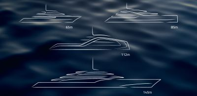 Line illustration of superyachts.
