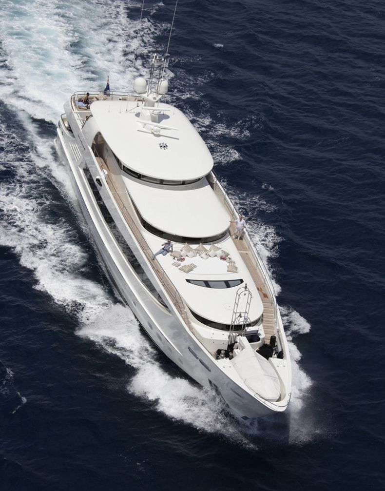 Overhead running shot of  Basmalina, Luxury Super Yachts .
