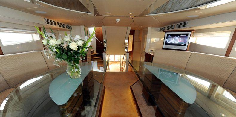 Luxury superyacht interior.