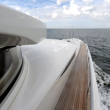Abstract view of the bow on Basmalina II , Luxury Super Yachts.