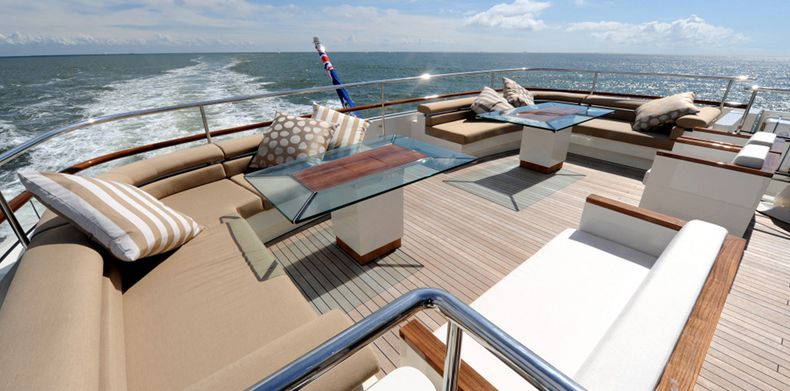 Basmalina, Luxury Super Yachts Design - Seating on superyacht main deck aft.