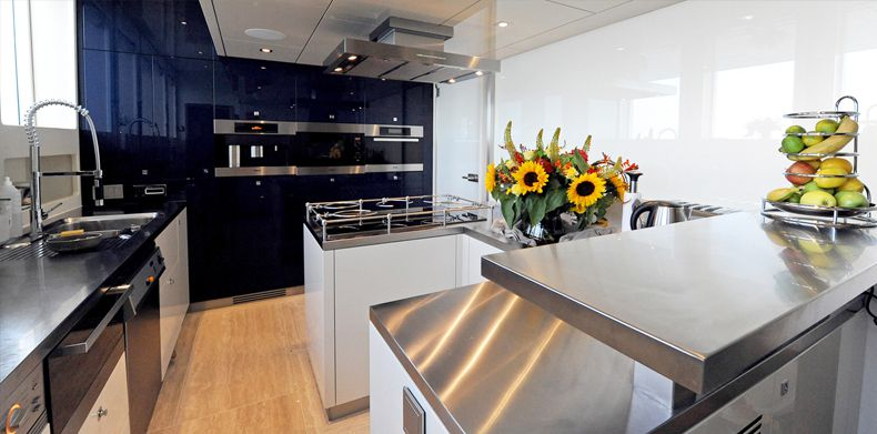Basmalina, Luxury Super Yachts Design- Modern galley with stainless steel on superyacht.