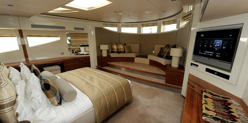 Master suite aboard Basmalina II built by ICON Yachts.
