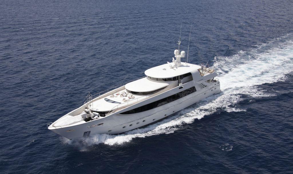 Running shot of M/Y Basmalina II built by ICON Yachts.
