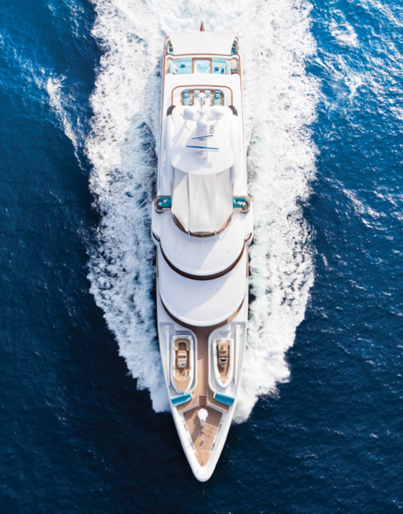 Baton Rouge , Super Luxury Yachts - Overhead aerial of M/Y Baton Rouge.