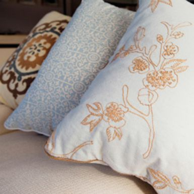 Baton Rouge , Super Luxury Yachts- Detail of embroidered cushions on M/Y Baton Rouge.