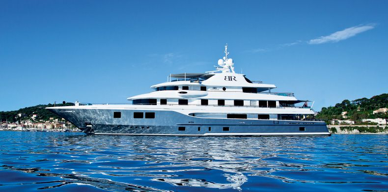 New Build , Baton Rouge -Side profile of Superyacht Baton Rouge anchored in the Côte d'Azur.