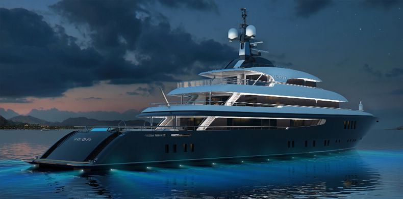 ICON 225 , Luxury Super Yachts- Night time view of ICON Yachts built yacht.