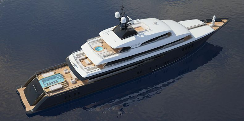 Luxury Super Yachts-Aerial view of superyacht with infinity pool on main deck aft.