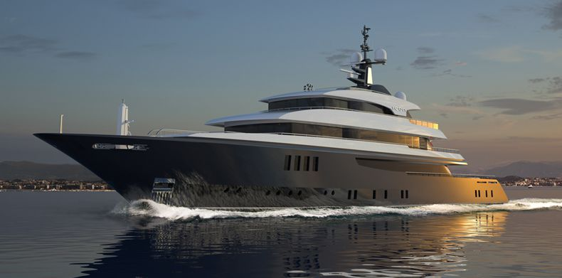 ICON 225 , Luxury Super Yachts- Running shot of M/Y Icon.